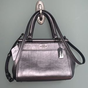Coach Grace Bag 20 Metallic Leather Gunmetal Gray